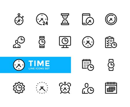 Time vector line icons. Simple set of outline symbols, graphic design elements. Pixel perfect