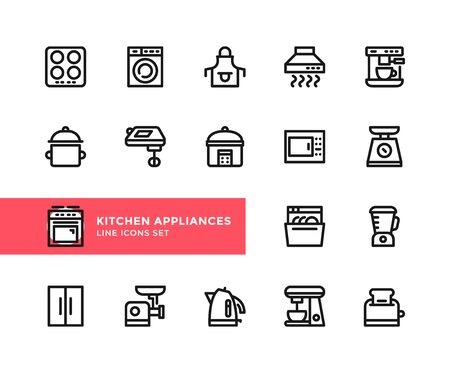 Kitchen appliances vector line icons. Simple set of outline symbols, graphic design elements. Pixel perfect