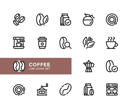 Coffee vector line icons. Simple set of outline symbols, graphic design elements. Pixel perfect