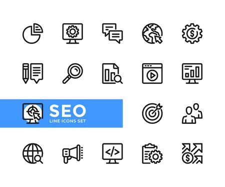 SEO vector line icons. Simple set of outline symbols, graphic design elements. Pixel perfect 向量圖像