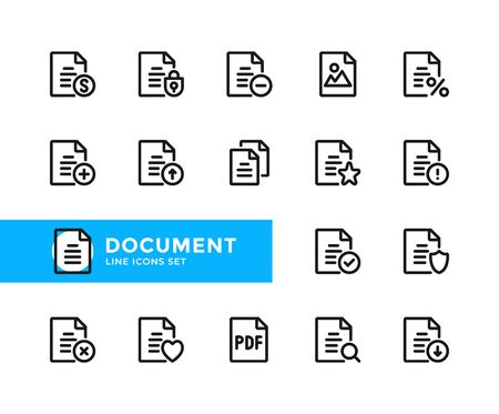 Document vector line icons. Simple set of outline symbols, graphic design elements. Pixel perfect