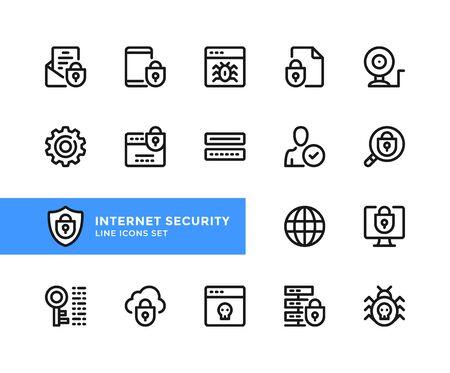 Internet security vector line icons. Simple set of outline symbols, graphic design elements. Pixel perfect