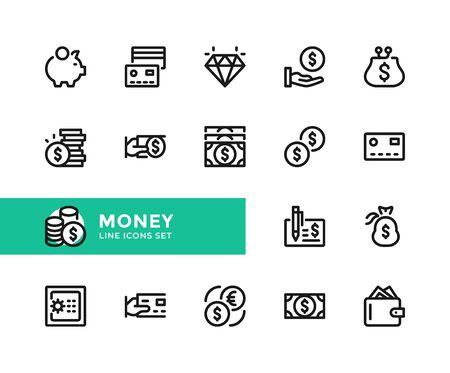 Money vector line icons. Simple set of outline symbols, graphic design elements. Pixel perfect