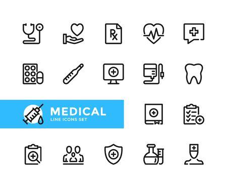 Medical vector line icons. Simple set of outline symbols, graphic design elements. Line icons set. Pixel perfect 向量圖像