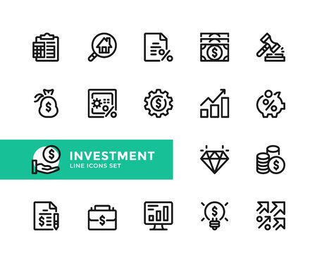 Investment vector line icons. Simple set of outline symbols, graphic design elements. Line icons set. Pixel perfect