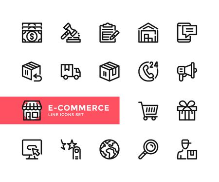 E-commerce vector line icons. Simple set of outline symbols, graphic design elements. Line icons set. Pixel perfect 向量圖像