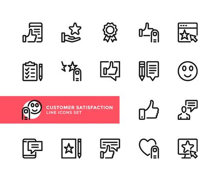 Customer satisfaction vector line icons. Simple set of outline symbols, graphic design elements. Line icons set. Pixel perfect