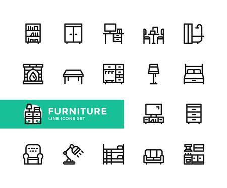 Furniture vector line icons. Simple set of outline symbols, graphic design elements. Line icons set. Pixel perfect