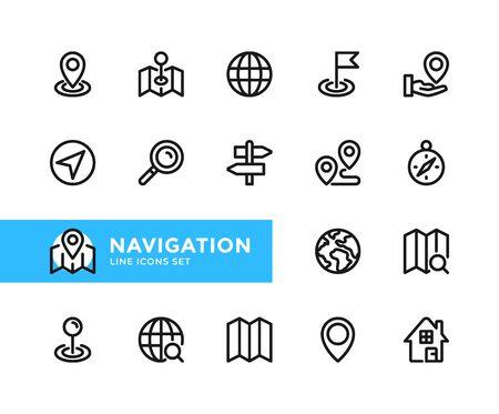 Navigation vector line icons. Simple set of outline symbols, graphic design elements. Line icons set. Pixel perfect