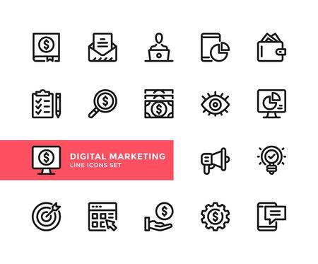 Digital marketing vector line icons. Simple set of outline symbols, graphic design elements. Line icons set. Pixel perfect 向量圖像