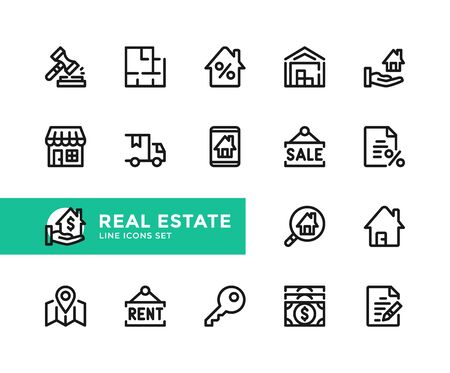 Real estate vector line icons. Simple set of outline symbols, graphic design elements. Line icons set. Pixel perfect 向量圖像