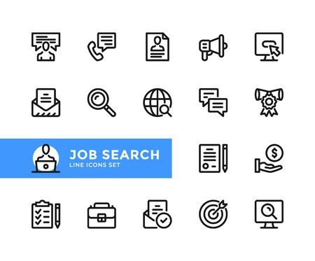 Job search vector line icons. Simple set of outline symbols, graphic design elements. Line icons set. Pixel perfect