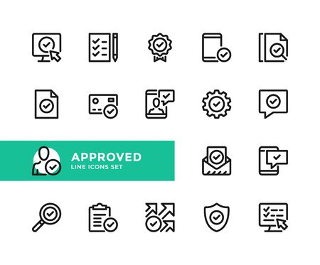 Approved vector line icons. Simple set of outline symbols, graphic design elements. Line icons set. Pixel perfect