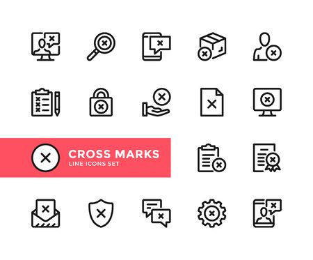 Cross marks vector line icons. Simple set of outline symbols, graphic design elements. Line icons set. Pixel perfect