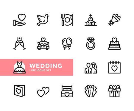 Wedding vector line icons. Simple set of outline symbols, graphic design elements. Line icons set. Pixel perfect