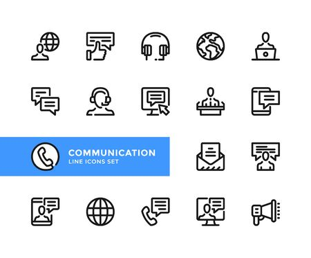 Communication vector line icons. Simple set of outline symbols, graphic design elements. Line icons set. Pixel perfect
