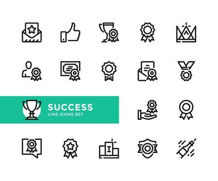 Success vector line icons. Simple set of outline symbols, graphic design elements. Line icons set. Pixel perfect