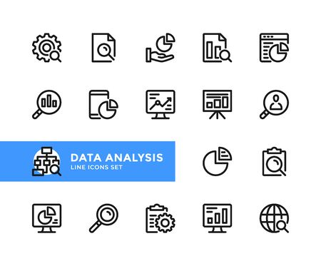 Data analysis vector line icons. Simple set of outline symbols, graphic design elements. Line icons set. Pixel perfect