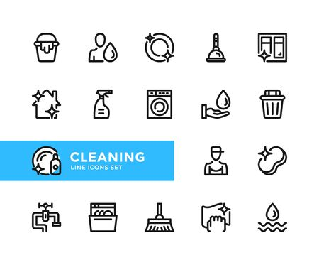 Cleaning vector line icons. Simple set of outline symbols, graphic design elements. Line icons set. Pixel perfect