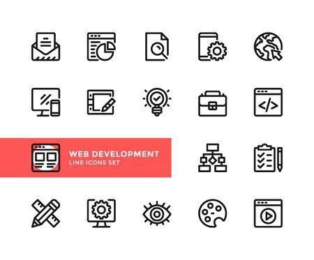Web development vector line icons. Simple set of outline symbols, graphic design elements. Line icons set. Pixel perfect