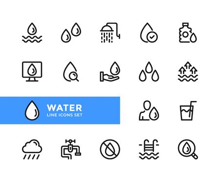 Water vector line icons. Simple set of outline symbols, graphic design elements. Line icons set. Pixel perfect 向量圖像