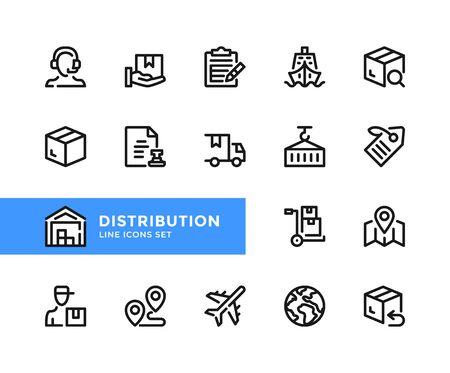 Distribution vector line icons. Simple set of outline symbols, graphic design elements. Line icons set. Pixel perfect 向量圖像