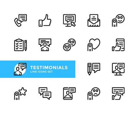 Testimonials vector line icons. Simple set of outline symbols, graphic design elements. Line icons set. Pixel perfect 向量圖像