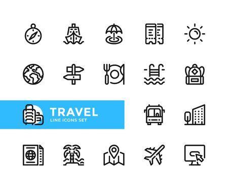 Travel vector line icons. Simple set of outline symbols, graphic design elements. Line icons set. Pixel perfect
