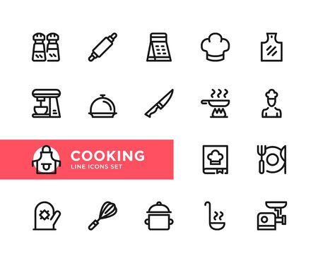 Cooking vector line icons. Simple set of outline symbols, graphic design elements. Line icons set. Pixel perfect 向量圖像
