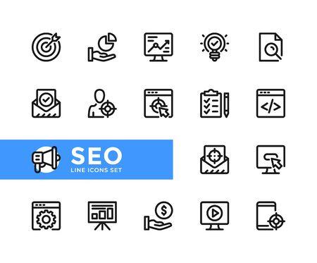 SEO vector line icons. Simple set of outline symbols, graphic design elements. Line icons set. Pixel perfect
