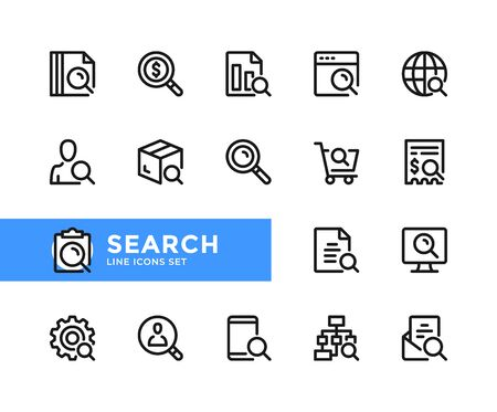 Search vector line icons. Simple set of outline symbols, graphic design elements. Line icons set. Pixel perfect 向量圖像