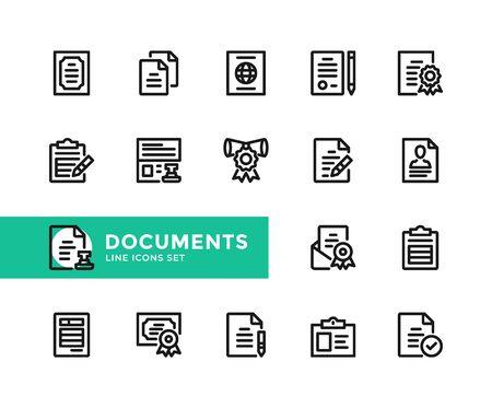 Documents vector line icons. Simple set of outline symbols, graphic design elements. Line icons set. Pixel perfect