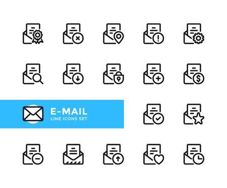 E-mail vector line icons. Simple set of outline symbols, graphic design elements. Line icons set. Pixel perfect 向量圖像