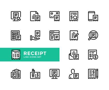 Receipt vector line icons. Simple set of outline symbols, graphic design elements. Line icons set. Pixel perfect 向量圖像