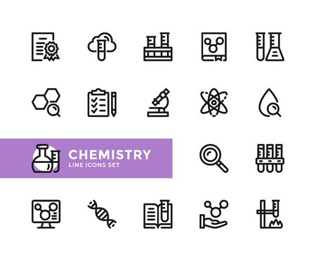 Chemistry vector line icons. Simple set of outline symbols, graphic design elements. Line icons set. Pixel perfect 向量圖像