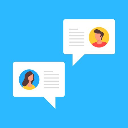 Chat concept. Two speech bubbles with user account images and text. Modern flat design. Vector illustration