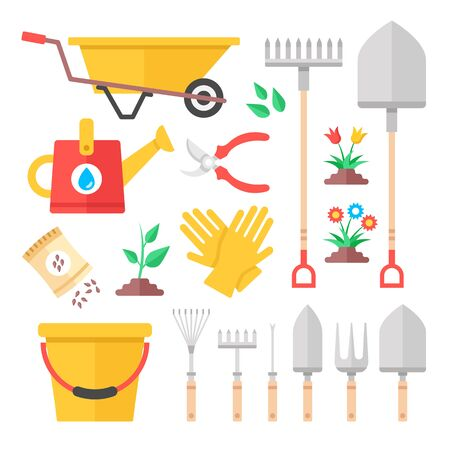Gardening icons. Modern flat design graphic elements. Vector icons set