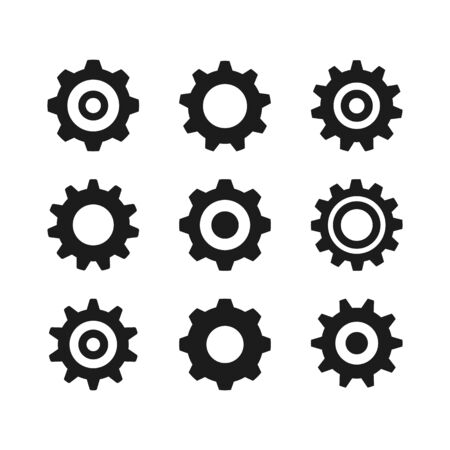 Gear icons set. Black color. Vector cogs and cogwheels isolated on white background 向量圖像