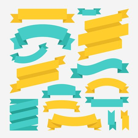 Ribbons set. Vector banners and ribbons. Flat design graphic elements 向量圖像