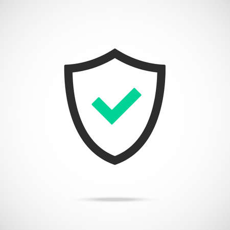 Shield and check mark icon. Safety, security, quality, protection concepts. Black insignia and green tick. Modern simple flat design. Ilustração