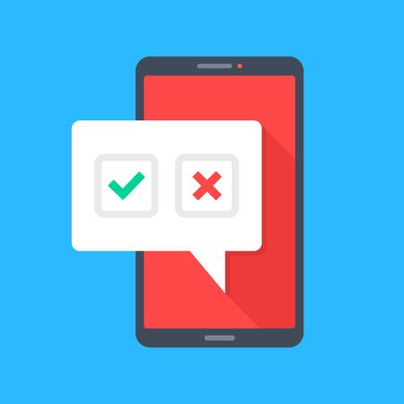Smartphone with check mark and cross mark. Survey, choice, online test, yes and no, voting concepts. Mobile phone with checkmark and x mark. Modern flat design. Vector illustration Ilustrace