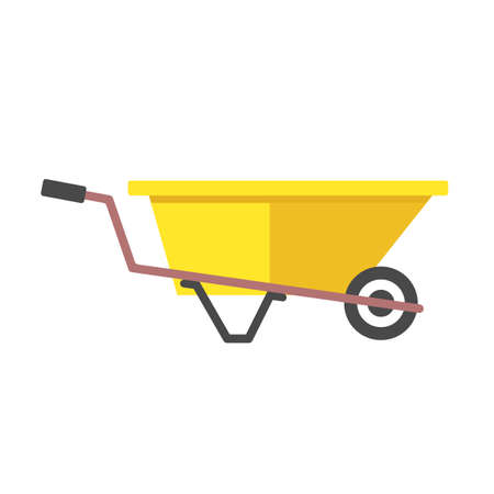 Wheelbarrow. Flat design. Vector illustration isolated on white background