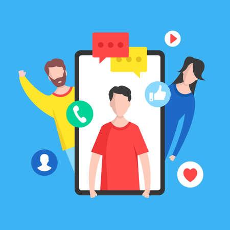 Online communication. Social network, online chat, text messaging, internet messenger mobile app concepts. People and mobile phone. Modern flat design graphic elements. Vector illustration
