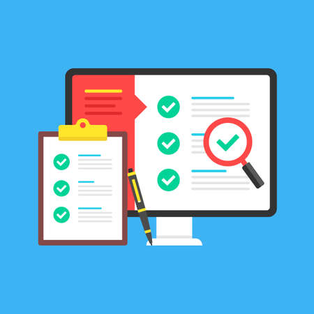 Checklist. Computer with check list on screen and clipboard with checklist and checkboxes with green ticks. Online survey, exam, audit, report, poll concepts. Modern flat design. Vector illustration