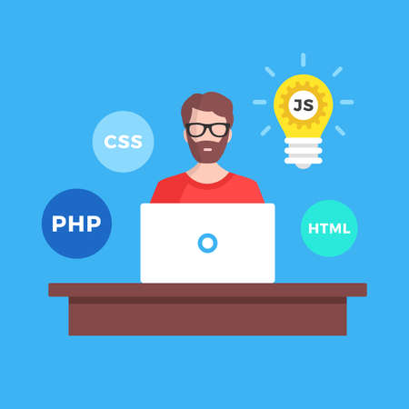 Web development, website development. Flat design. Programmer with laptop sitting at the desk. Web developer, freelance programming, coder, coding concept. Modern graphic elements. Vector illustration