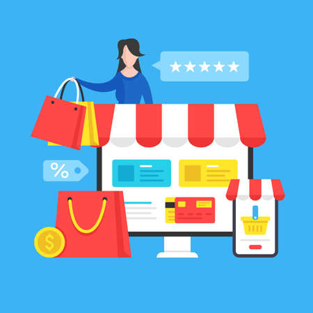 Online shopping. Ecommerce, internet retail, e-commerce, marketplace, online store concepts. Modern flat design graphic elements. Vector illustration