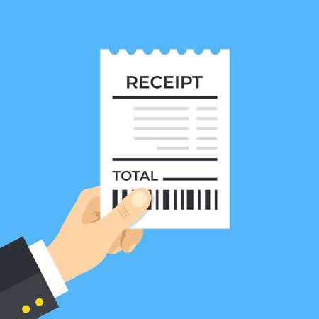 Bill. Hand holding receipt. Modern flat design. Vector illustration
