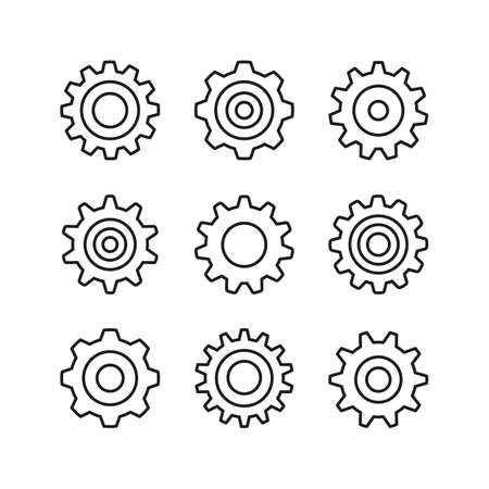 Cogs line icons set. Gears, cogwheels. Modern graphic design concepts, simple outline elements collection. Vector icons Ilustração