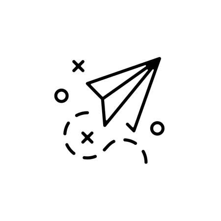 Paper plane icon. Paper airplane. Thin line design. Outline symbol. Vector icon Ilustração