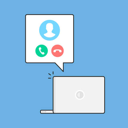 Video call. Incoming call and laptop. Accept and decline buttons. Video conference, online chat concepts. Modern flat line design. Vector illustration